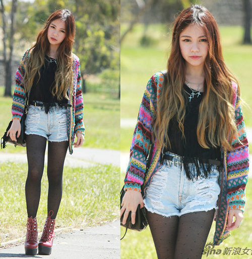 Ngày lạnh vẫn sexy với short jeans, Thời trang, short jeans, quan short jeans, quan short, quan ngan, jeans, thoi trang jeans, ao khoac, bot, giay, ao thun, thoi trang thu dong, thoi trang thu 2012
