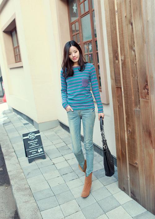 Sự kết hợp ngọt ngào từ quần jeans và áo len