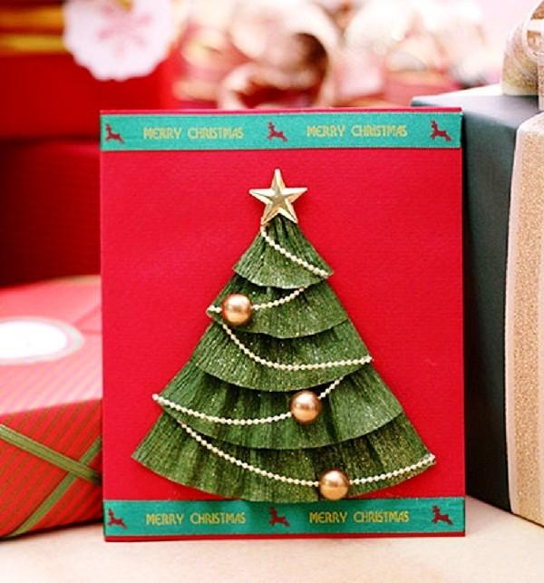 Cách làm thiệp cây thông Noel đẹp mà siêu dễ7
