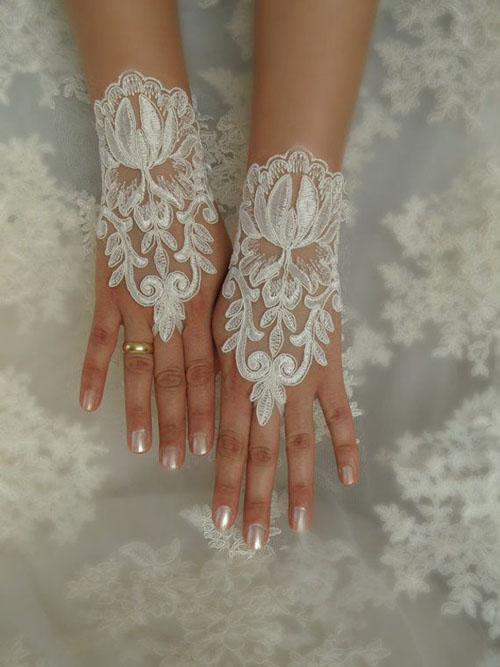 Găng tay ren tinh tế, thanh lịch cho cô dâu - 5