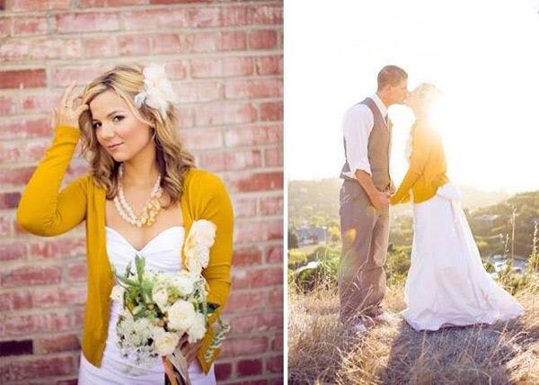 Áo vàng nổi bật trên nền váy cưới trắng.