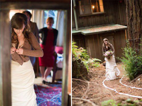 Những kiểu áo khoác tông màu nâu trầm thích hợp với váy cưới màu ngà hoặc sắc hơi nhạt.
