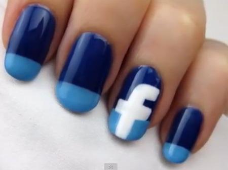 """Đem cả """"Facebook"""" lên móng xinh, Làm đẹp, lam dep, nail dep, nail xinh, nail mang xa hoi, nai face, video lam mong"""