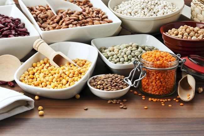 variety of beans and legumes on table
