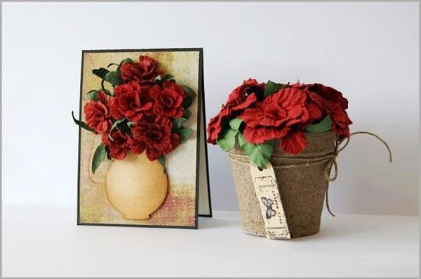 Làm hoa hồng giấy rực rỡ trang trí nhà mình 8