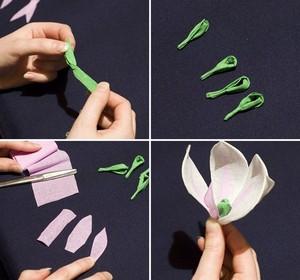 Làm hoa mộc lan giấy đẹp như hoa thật 4